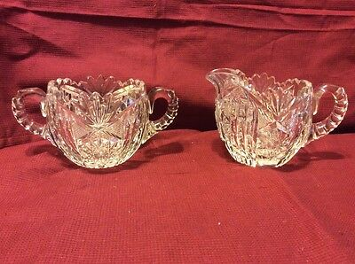 American Brilliant Cut Glass Libbey Sugar and Creamer #38SC