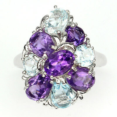 DELIGHTFUL NATURAL PURPLE AMETHYST-SKY BLUE TOPAZ STERLING 925 SILVER RING Sz 9#