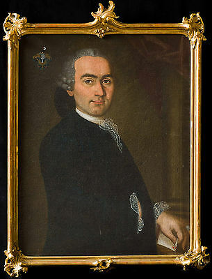 Large 18th Century Portrait of a Gentleman Coat-of-Arms Antique Oil Painting