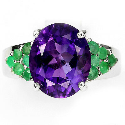 GORGEOUS NATURAL 12x10mm PURPLE AMETHYST-EMERALD STERLING 925 SILVER RING Sz 7.5