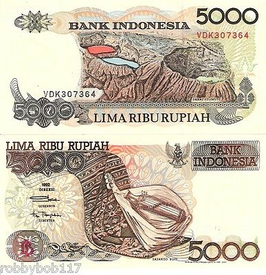 INDONESIA 5000 Rupiah Banknote World Money aUNC Currency Asia Bill p130h Note