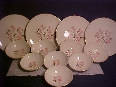 VTG set of 12 Knowles Dinnerware/Pink Dogwood/Designed by Kalla