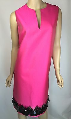 St John New $1695 Dark Pink Sleeveless Dress Shift Hand Black Beading Sz 12