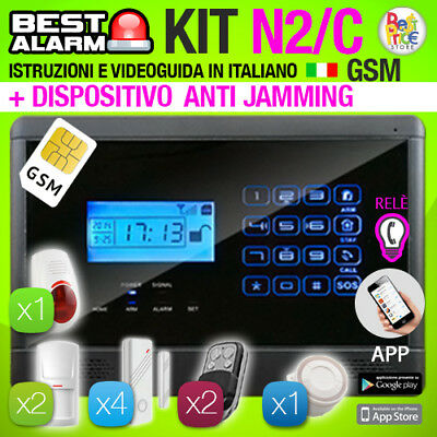 Antifurto Kit N2C Allarme Touch Casa Combinatore Gsm Wireless  Antijamming