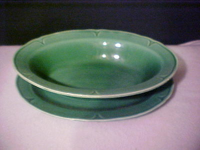 VTG Collectible Majolica Green Vegetable server with Drip Dish (2pc set)