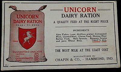 Blotter UNICORN  DAIRY RATION - FEED - CHAPIN & CO - HAMMOND IND. - AJAX FLAKES