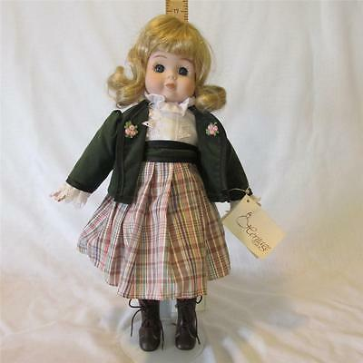 """Heritage 16"""" Porcelain Doll & Stand With Wind up Music Box Gently Displayed"""