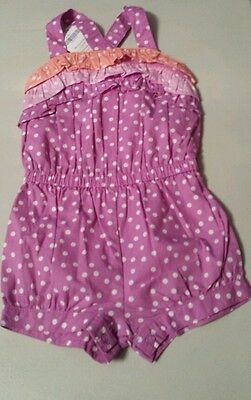 NWT Gymboree Bright and Beachy Romper 6-12 months purple with white Polka dots