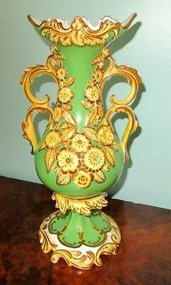 Rockingham Antique Twin Handled Apple Green Vase 1830-40s In MINT CONDITION