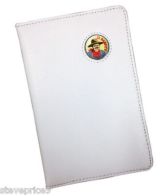 """ El Bandito "" Bandit Crested White Leather Scoremaster Golf Scorecard Holder"
