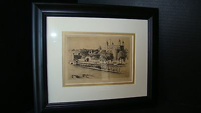 "Signed And Titled Etching By Cecil Forbes ""The Tower Of London"""