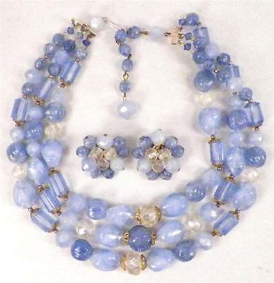 Sky Blue Necklace & Clip On Earrings 3 Strand Vintage Beads Plastic Retro
