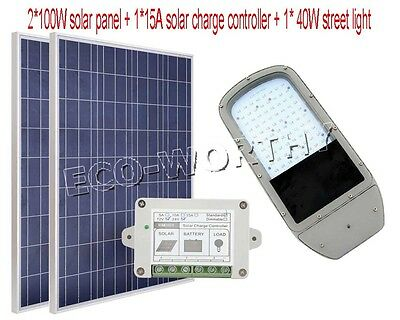 40W 12V LED road lamp system+2*100W poly solar panel W/ 15A charge controller