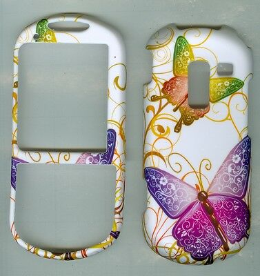 PURPLE BUTTERFLY HARD RUBBERIZED PROTECTOR CASE FOR Samsung R570 Messenger III