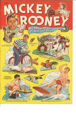 Vintage Uncut 1941 Mickey Rooney Paper Dolls Hd Laser Reproduction~No.1 Seller