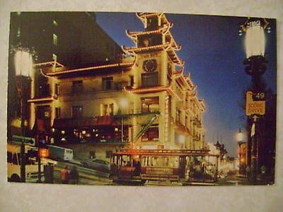 San Francisco's Chinatown at Night, California, Vintage Postcard Cable Car,PC CA