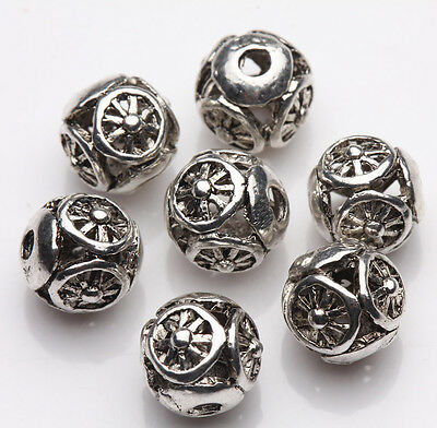 10Pcs Tibet Silver Wheel Hollow Out Beads Jewelry Making DIY 8mm