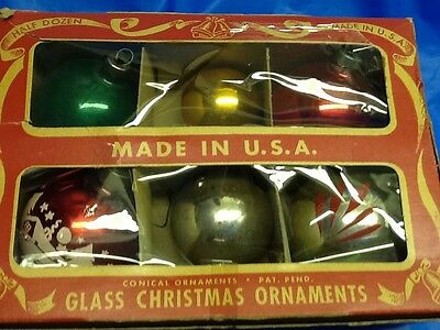 vintage PARAGON glass CHRISTMAS ORNAMENTS set of 6 assorted IN BOX