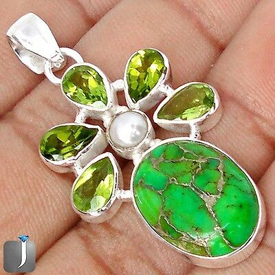 16.35cts GREEN COPPER TURQUOISE PERIDOT PEARL 925 SILVER PENDANT JEWELRY E27421
