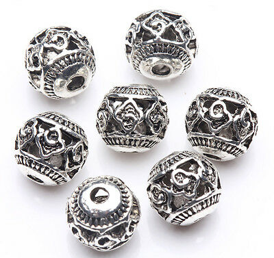 10Pcs Tibet Silver Hollow Out Spacer Beads Jewelry Making DIY 8mm