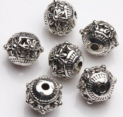 10Pcs Tibet Silver Flower Hollow Out Spacer Beads Bracelet Findings DIY 9X8mm