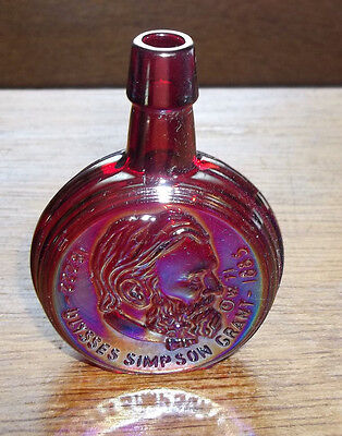 Old Miniature Wheaton Iridescent Red/Pink Presidents Bottle Ulysses Grant