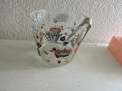 Vintage Glass Ice Bucket with Tongs Gambling Cards Dice