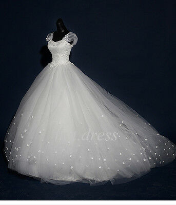 New Lace Ivory/White Wedding Dress Bridal Ball Gown Dresses Custom Made Size