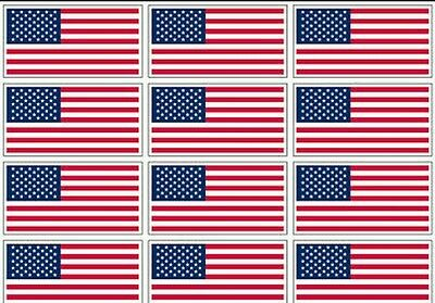 """12 qty of 3""""x5"""" USA Flag Decal Stickers - American US flag MADE IN USA"""
