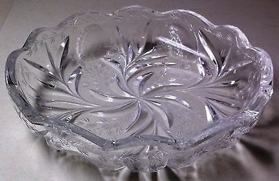 Hawkes Gravic Glass cut glass bowl wheel cut thistles antique Ca. late 1800's