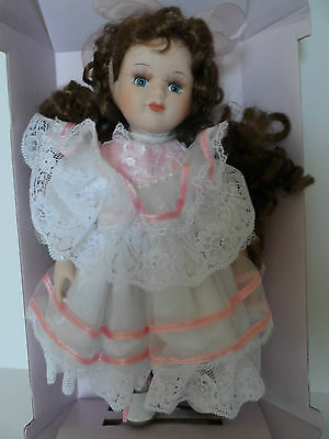 New Hand Crafted Porcelain Doll in White/Pink Dress