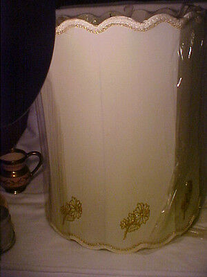 VTG Ivory Scalloped Lamp Shade w/Gold Embrodiery Florals & Gold Trim(1 of 2)