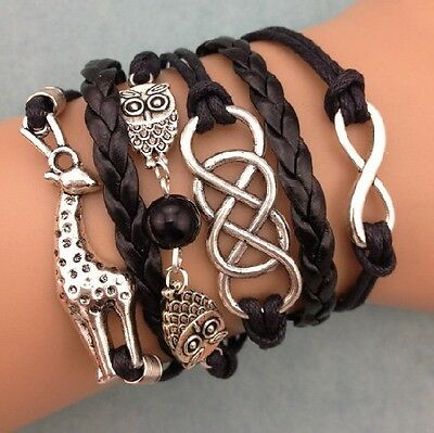 NEW Retro Infinity Giraffe Owl Pearl Leather Charm Bracelet plated Silver  SS08