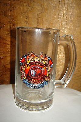 Glass Firefighter Beer Mug With Fire Helmet and Crossed Axes On Front