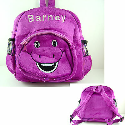 """NEWEST Barney The Dinosaur 9"""" Purple Face Soft Plush Toy Backpack Bag"""
