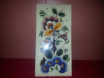 Signed Delft Holland Sphinx Tile Wall Hanging Plaque Bumble Bee Flowers
