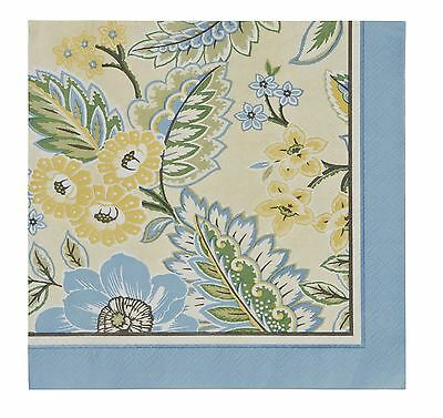 """YELLOW BLUE GREEN FLORAL PACK OF 20 PAPER NAPKINS SERVIETTES 13"""" x 13"""""""