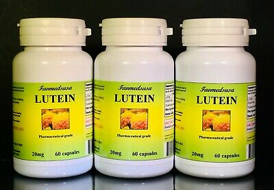 Lutein 20mg +Zeaxanthin, Vision, High Quality, Made in USA - 180 (3x60) capsules