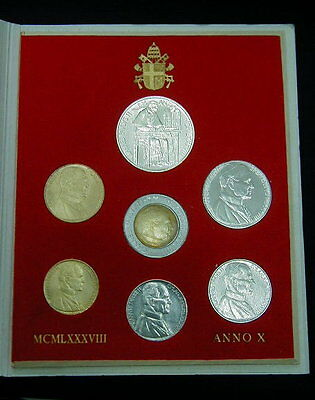 1988 Italy Vatican coins set UNC with silver John Paul II in official BOX