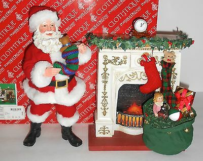 2 Pce Possible Dreams STOCKINGS WERE HUNG Santa at Fireplace Clothtique 2005 Box