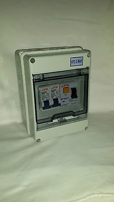 garage consumer unit 2 way IP65  30ma RCD + 2 off mcb's prewired NEW!!!