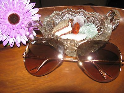 Ray Ban RB 3025 Large Metal Aviator, Gold Sunglasses, Brown Lens New