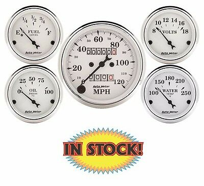 "Auto Meter Old Tyme White Mechanical 5 Gauge Set 3-1/8"" Speedometer 1601"