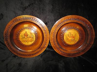 Rare BEAUTIFUL Polish Vintage Hand Carved Wooden Plates Victorian Image