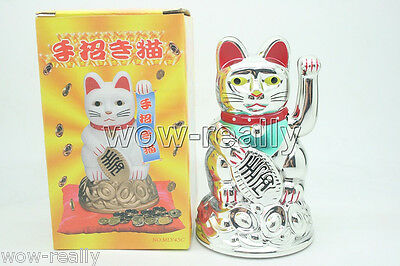 """New Chinese Waving Beckoning Cat 4.5""""  Silver White Lucky Cat"""
