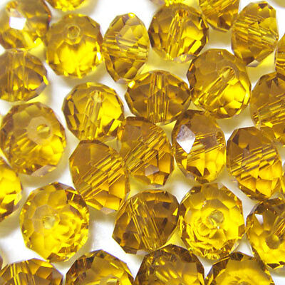 100pcs 4mm DIY Jewelry Faceted Rondelle crystal #5040 3x4mm Beads Yellow colors