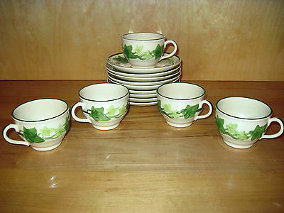 "VINTAGE LOT ~ ""FRANCISCAN IVY"" ~ 5 Cups & 9 Saucers ~ 14 Pieces ~ EUC"