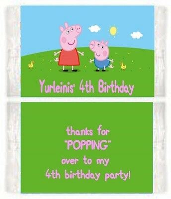 Peppa Pig Birthday Party Popcorn Wrappers Favors Personalized Custom