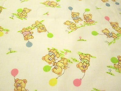 TEDDY BEAR Print Cotton Fabric for Babies or  KIDS 1 3/4 yards