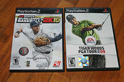 Tiger Woods PGA Tour 09 & MLB 2K10 Baseball  (PS 2) 2 Complete Games Lot VG Cond